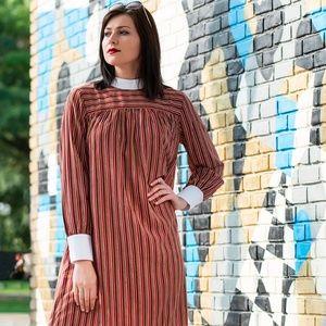 Adair Dress- Burgundy stripe, loose fit